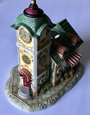PartyLite Olde World Village #4 Candle holder Clock Tower with flower cart.