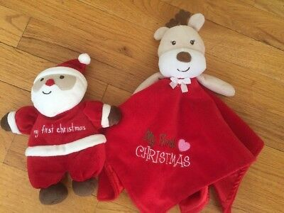 My First Christmas Blanket Lovey Rattle Child Of Mine Carters Lot Santa Reindeer