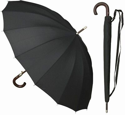"46"" Arc Auto-Open 16-Panel Black Doorman Umbrella - RainStoppers Rain/Sun UV"