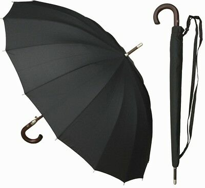 "46"" Auto-Open 16-Panel Black Doorman Umbrella - RainStoppers Rain/Sun UV"