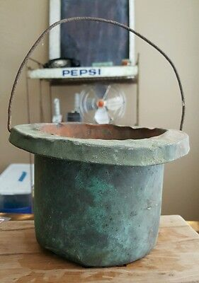 Rare Original Patina Antique Copper Bucket Old Early Vintage One of a Kind