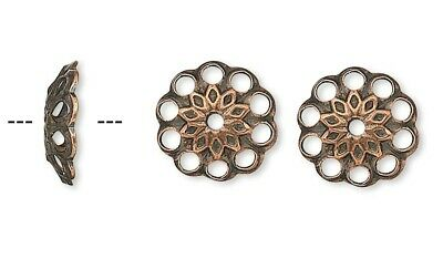 144 Antiqued Copper Round Fancy Filigree 8x2mm Bead Caps to Fit 8-10mm Beads *