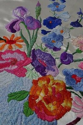 Exquisite Vintage  Hand Embroidered Floral Picture Panel ~Iris Carnations Etc