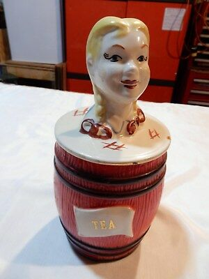RARE VINTAGE Red REGAL CHINA OLD MCDONALDS FARM's Girl Tea CANISTER WITH LID 389