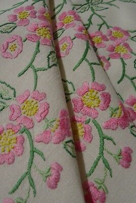 Beautiful Large Vintage Hand Embroidered Irish Linen Tablecloth ~ Apple Blossom