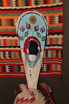 Rare Antique Nez Perce Plateau Beaded Cradle Board