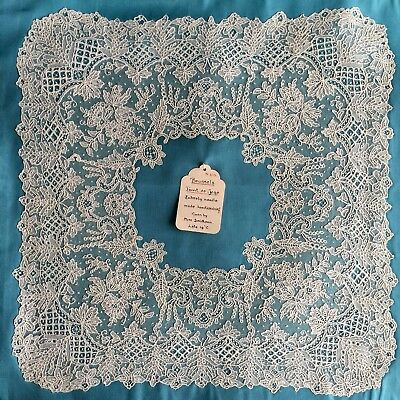 19th C. handmade Point de Gaze needle lace handkerchief border  COLLECTOR