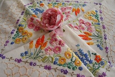 Stunning Vintage Hand Embroidered Tablecloth ~ Cottage Wild Flowers