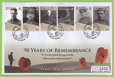 B.I.O.T. 2008 90 Years of Remembrance set on First Day Cover