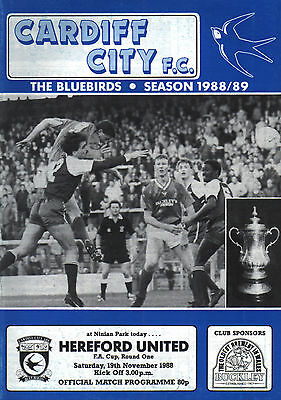 1988/89 Cardiff City v Hereford United, FA Cup, PERFECT CONDITION