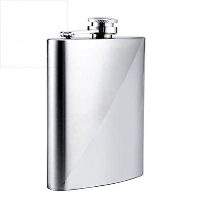GENNISSY Silver Stripe Hip Flask Dull Polish Stainless Steel With Funnel 7OZ