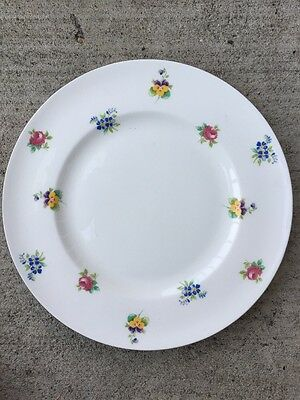 Crown Staffordshire Fine Bone China Rose Pansy Flowers Unch Salad Plate England