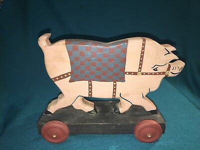 Wooden Folk Art Pig on Wheel Hand Painted