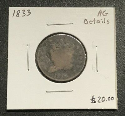 1833 U.s. Classic Head Half Cent ~ About Good Details! $2.95 Max Shipping! C506