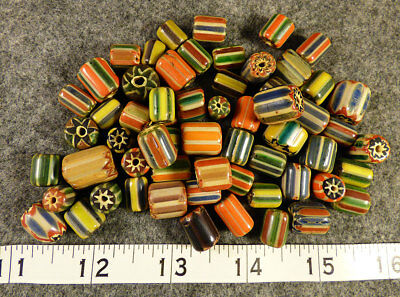 10 Big Original Hudsons Bay Company Mixed Chevron Indian Trade Beads Glass 1800s