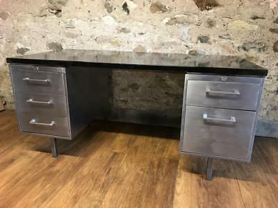 Stunning Vintage Mid Century Stripped Metal Twin Pedestal Office Desk Tanker