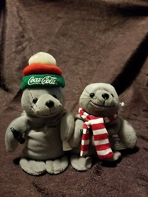 Coca Cola Pair Of Seals Beanie Type Babies Collectibles