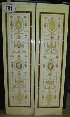 "Pair of Original Neo-Classical cream & yellow tiled panels 38"" H x 10"" W"