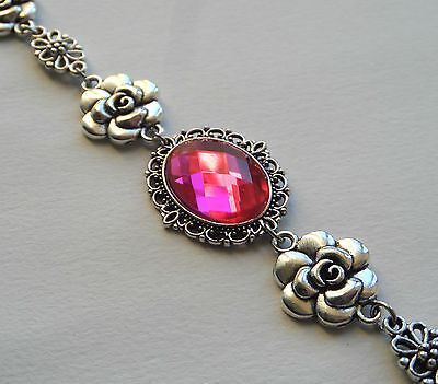 Camellia Filigree Victorian Style Faceted Hot Pink Silver Plated Bracelet Cfb
