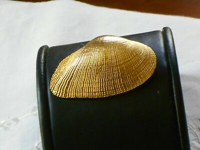 Vintage Large Gold Textured Clam Shell Pin By Art - Fabulous - By The Sea