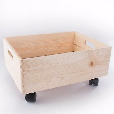 Large Wooden Stackable Storage Crate With Handles And Wheels / Toy Keepsake Box