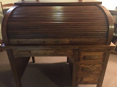 Vintage Roll Top Desk - Good Condition - Roll Top Operates Smoothly & Locks
