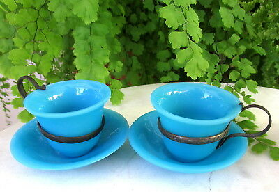 Two Antique Aqua Chinese Peking Glass Cups And Saucers W/ Metal Holder