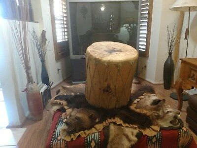 """native american vintage crafted 16"""" round pine drum with tanned hide face ends."""