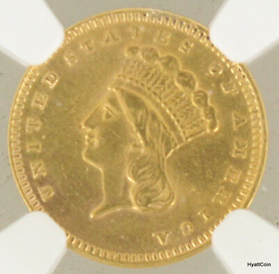 1873 Open 3 Indian Head Gold Dollar $1 NGC AU Details