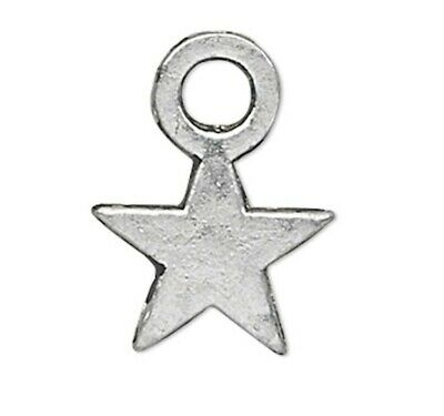 100 Antiqued Silver Plated Pewter 8x7mm Double Sided Moon /& Star Charms