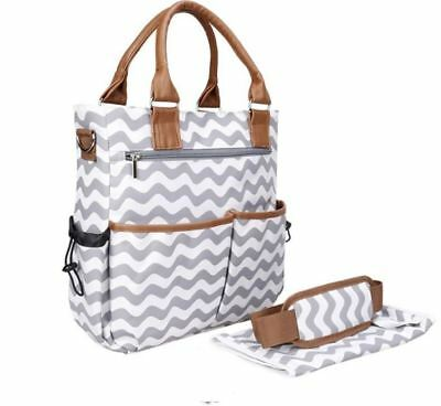 Mummy Maternity Baby Nappy Diaper Changing Bag Set 4pcs - Grey Waves