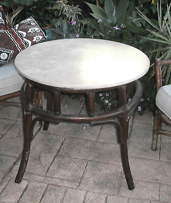 VINTAGE MARBLE TOP CANE OCCASIONAL TABLE 1930's ? RETRO HEAVY MARBLE GOOD COND.