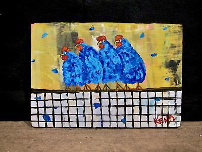 "BLUE CHiCKENs 5"" x 7"" Abstract painting~KENO FOLK ART~outsider~COASTWALKER~USA"