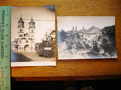 Nice Lot of 2 Antique Photographs Church & Homes / Architecture / Country? Exc.