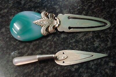 2 Sterling Silver Page Trowel Book mark Ari D Norman HM MOP prince wales feather