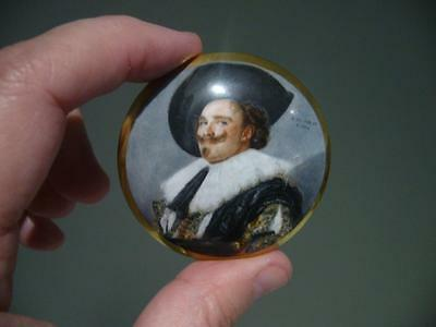 Crown Staffordshire England 'laughing Cavalier'  Miniature Trinket Box - Vgc