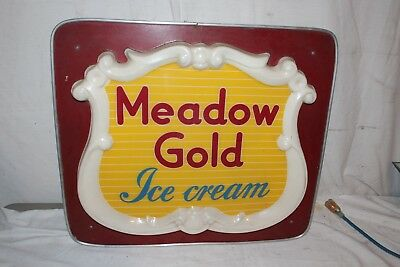 """Vintage 1950's Meadow Gold Ice Cream Gas Oil 24"""" Embossed Lighted Metal Sign"""