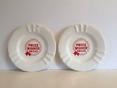 2 Rare Vintage Prize Winner Bread Porcelain Ceramic Bakery Advertising Ashtrays
