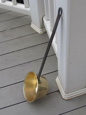 1860 Antique Hand Made Brass Large Ladle Scoop Pan with Hand Forged Steel Handle