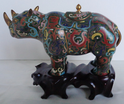 """Vintage Antique CLOISONNE RHINO figurine statue form with lid and stand 7.5"""" L"""