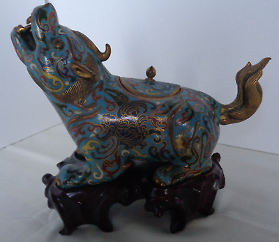 Vintage Antique CLOISONNE DOG figurine statue form with lid and stand Chinese