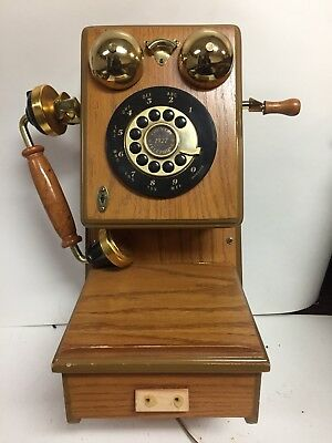 Antique Wall Phone Vintage Retro Telephone Rotary Dial Old Fashioned Wooden used