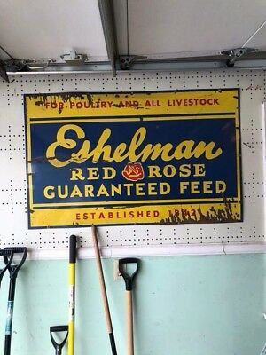 "Vintage **RARE** Porcelain ESHELMAN RED ROSE 48x30""EMBOSSED feed sign"