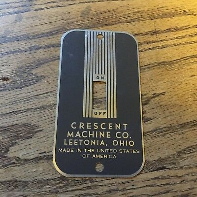 Crescent Machine Co. Leetonia, Ohio Switch Coverplate, New Old Stock