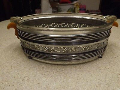 Vintage silver plate oval dish holder Pyrex glass casserole celluloid-handles