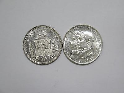 Brazil 2000 500 Reis 1859 1922 Commemorative Type Silver Coin Collection Lot