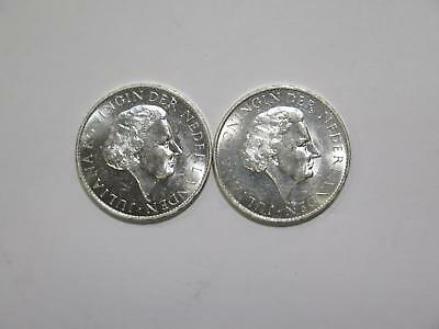 2- Suriname 1962 1 Gulden Silver Commemorative Type World Coin Collection Lot