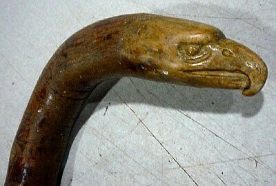 Antique Civil War era carved EAGLE head cane walking stick. Patriotic folk art