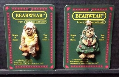 Boyds Bears Bearwear Wearable Pin Lot Of 2 Pins On Cards