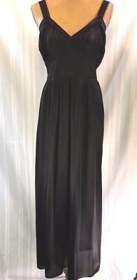 VTG 40's nightgown Black size LARGE Realsilk Long Gown PRISTINE Nylon lingerie